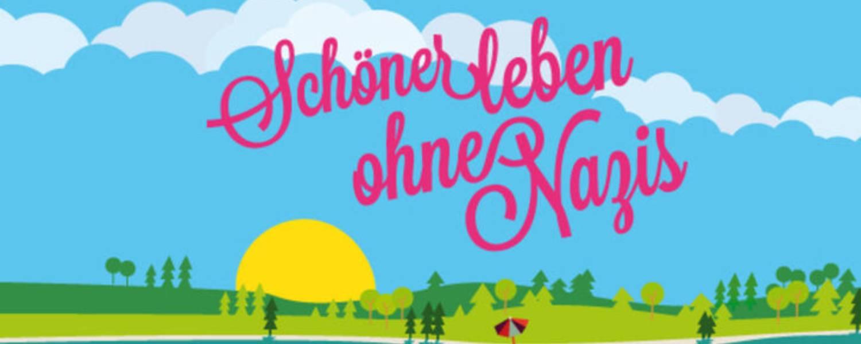 Flyer Schöner leben ohne Nazis Illustration einer Sonne, eines Sees und einer Berglandschaft mit rosa Schrift