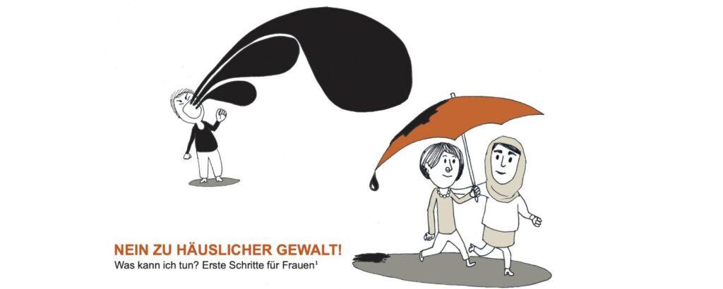 Illustration mit zwei Frauen unter einem Regenschirm und einem schreienden Mann im Hintergrund